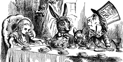 """At any rate I'll never go there again!"" said Alice as she picked her way through the wood. ""It's the stupidest tea-party I ever was at in all my life!"""